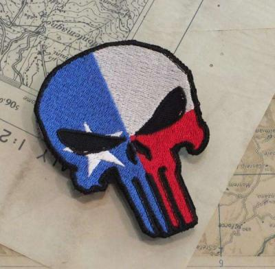PATCH RICAMATA PUNISHER A SAGOMA CON FLAG TEXAS